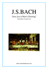 Cover icon of Jesu, Joy of Man's Desiring sheet music for guitar solo by Johann Sebastian Bach, classical wedding score, intermediate skill level