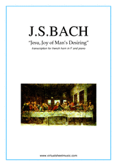 Cover icon of Jesu, Joy of Man's Desiring sheet music for horn and piano by Johann Sebastian Bach, classical wedding score, intermediate skill level