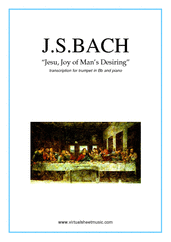 Cover icon of Jesu, Joy of Man's Desiring sheet music for trumpet and piano by Johann Sebastian Bach, classical wedding score, intermediate skill level