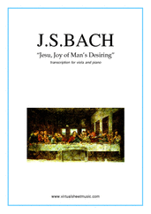 Cover icon of Jesu, Joy of Man's Desiring sheet music for viola and piano by Johann Sebastian Bach, classical wedding score, intermediate skill level