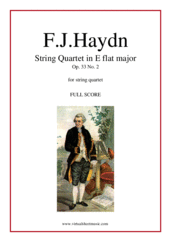 "Cover icon of String Quartet in Eb major Op.33 No.2 ""The Joke"" (f.score) sheet music for string quartet by Franz Joseph Haydn, classical score, intermediate/advanced skill level"