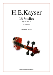 Cover icon of Etudes (13-26), Op.20 - Book II sheet music for violin solo by Heinrich Ernst Kayser, classical score, intermediate skill level
