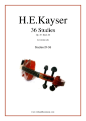 Cover icon of Etudes (27-36), Op.20 - Book III sheet music for violin solo by Heinrich Ernst Kayser, classical score, intermediate skill level