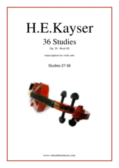 Cover icon of Etudes (1-36), Op.20 - COMPLETE sheet music for viola solo by Heinrich Ernst Kayser, classical score, intermediate skill level
