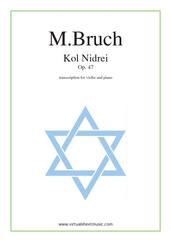 Cover icon of Kol Nidrei Op.47 sheet music for violin and piano by Max Bruch, classical score, advanced skill level