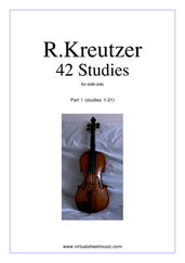 Cover icon of Studies (1-21) - part I sheet music for violin solo by Rudolf Kreutzer, classical score, intermediate skill level