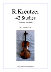 Cover icon of Studies (22-42) - part II sheet music for viola solo by Rudolf Kreutzer, classical score, intermediate/advanced skill level