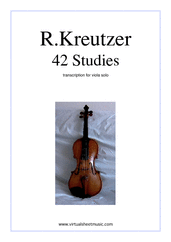 Cover icon of Studies (1-42) - COMPLETE sheet music for viola solo by Rudolf Kreutzer, classical score, intermediate/advanced skill level