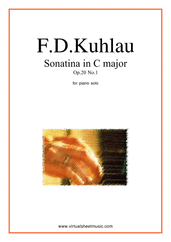 Cover icon of Sonatina in C major Op.20 No.1 sheet music for piano solo by Friedrich Daniel Rudolf Kuhlau, classical score, easy/intermediate skill level