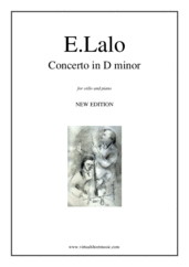 Cover icon of Concerto in D minor (NEW EDITION) sheet music for cello and piano by Edouard Lalo, classical score, advanced skill level