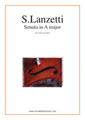 Cover icon of Sonata in A major sheet music for cello and piano by Salvatore Lanzetti, classical score, intermediate skill level