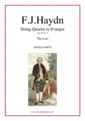 "Cover icon of String Quartet in D major Op.64 No.5 ""The Lark"" (parts) sheet music for string quartet by Franz Joseph Haydn, classical score, intermediate/advanced skill level"