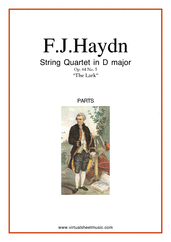 "Cover icon of String Quartet in D major Op.64 No.5 ""The Lark"" (COMPLETE) sheet music for string quartet by Franz Joseph Haydn, classical score, intermediate/advanced skill level"