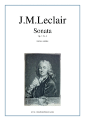 Cover icon of Sonata Op.3 No.4 (duo) sheet music for two violins by Jean Marie Leclair, classical score, intermediate duet