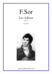 Cover icon of Les Adieux Op.21 sheet music for guitar solo by Fernando Sor, classical score, intermediate/advanced skill level