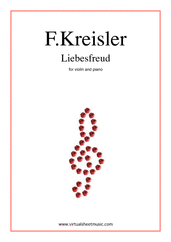 Cover icon of Liebesfreud sheet music for violin and piano by Fritz Kreisler, classical score, intermediate skill level