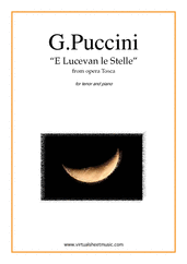 Cover icon of E Lucevan le Stelle, from the opera Tosca sheet music for tenor and piano by Giacomo Puccini, classical score, intermediate skill level