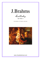 Cover icon of Lullaby Op. 49 No. 4 sheet music for bassoon and piano by Johannes Brahms, classical score, easy skill level