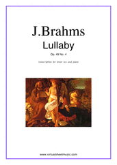 Cover icon of Lullaby Op. 49 No. 4 sheet music for tenor saxophone and piano by Johannes Brahms, classical score, easy skill level