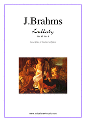 Cover icon of Lullaby Op. 49 No. 4 sheet music for trombone and piano by Johannes Brahms, classical score, easy skill level