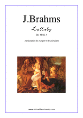 Cover icon of Lullaby Op. 49 No. 4 sheet music for trumpet and piano by Johannes Brahms, classical score, easy skill level