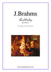 Cover icon of Lullaby Op. 49 No. 4 sheet music for cello and piano by Johannes Brahms, classical score, easy skill level