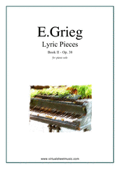 Cover icon of Lyric Pieces, Op.38 - book II sheet music for piano solo by Edward Grieg, classical score, intermediate skill level