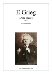 Cover icon of Lyric Pieces, Op.38 sheet music for violin and piano by Edvard Grieg, classical score, intermediate skill level