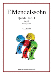 Cover icon of Quartet No. 1 Op. 12 (COMPLETE) sheet music for string quartet by Felix Mendelssohn-Bartholdy, classical score, advanced skill level