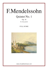 Cover icon of Quintet No. 1 Op. 18 in A major (COMPLETE) sheet music for string quintet by Felix Mendelssohn-Bartholdy, classical score, intermediate skill level