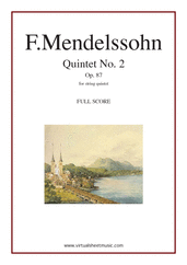 Cover icon of Quintet No. 2 Op. 87 in Bb major (COMPLETE) sheet music for string quintet by Felix Mendelssohn-Bartholdy, classical score, intermediate/advanced skill level
