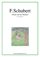 Cover icon of Death and the Maiden (parts) sheet music for string quartet by Franz Schubert, classical score, advanced skill level