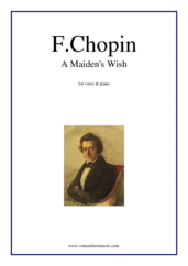 Cover icon of A Maiden's Wish sheet music for voice and piano by Frederic Chopin, classical score, easy/intermediate skill level