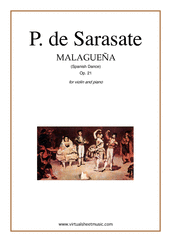 Cover icon of Malaguena spanish dance Op.21 sheet music for violin and piano by Pablo De Sarasate, classical score, advanced skill level