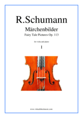 Cover icon of Marchenbilder (Fairy Tale Pictures), Piece No. 1 sheet music for viola and piano by Robert Schumann, classical score, intermediate skill level
