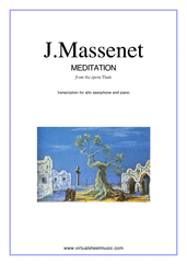 Cover icon of Meditation from Thais sheet music for alto saxophone and piano by Jules Massenet, classical wedding score, intermediate skill level