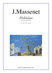 Cover icon of Meditation from Thais sheet music for violin, cello and piano by Jules Massenet, classical wedding score, intermediate skill level