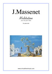 Cover icon of Meditation from Thais sheet music for piano solo by Jules Massenet, classical wedding score, intermediate skill level