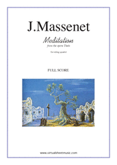 Cover icon of Meditation from Thais (f.score) sheet music for string quartet by Jules Massenet, classical wedding score, intermediate/advanced skill level