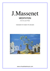 Cover icon of Meditation from Thais sheet music for trumpet and piano by Jules Massenet, classical wedding score, intermediate/advanced skill level