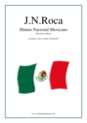 Himno Nacional Mexicano (Mexican Anthem) for piano, voice or other instruments - intermediate recorder sheet music