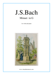 Cover icon of Minuet  in G sheet music for violin and piano by Johann Sebastian Bach, classical score, easy skill level