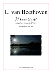 "Cover icon of Adagio from Sonata Op. 27 No.2 ""Moonlight"" sheet music for guitar solo by Ludwig van Beethoven, classical score, advanced skill level"