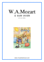 Cover icon of Easy Duets sheet music for two violins by Wolfgang Amadeus Mozart, classical score, easy duet