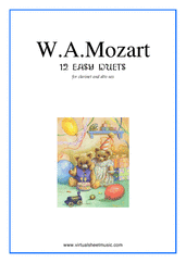Cover icon of Easy Duets sheet music for clarinet and alto saxophone by Wolfgang Amadeus Mozart, classical score, easy duet
