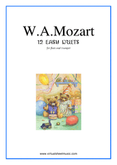 Cover icon of Easy Duets sheet music for flute and trumpet by Wolfgang Amadeus Mozart, classical score, easy duet