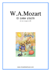 Cover icon of Easy Duets sheet music for two trumpets by Wolfgang Amadeus Mozart, classical score, intermediate duet