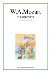 Cover icon of Easy Duets sheet music for violin and clarinet by Wolfgang Amadeus Mozart, classical score, easy duet