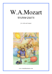Cover icon of Easy Duets sheet music for violin and trumpet by Wolfgang Amadeus Mozart, classical score, easy duet