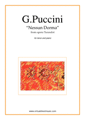 Cover icon of Nessun Dorma, from the opera Turandot sheet music for tenor and piano by Giacomo Puccini, classical score, intermediate skill level
